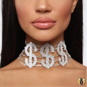 ⚜️[𝗡𝗪𝗧]⚜️$$$ Crystal Wide Statement Choker New